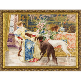 Seated Lady With Greyhounds Cross Stitch Kit By Golden Fleece