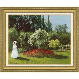 Woman In The Garden Sainte-Adresse Cross Stitch Kit By Golden Fleece