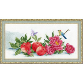 Apples And Peonies Cross Stitch Kit By Golden Fleece