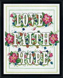 Love Faith Hope Counted Cross Stitch Kit By Design Works