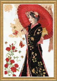 Red Parasol Counted Cross Stitch Kit By Design Works