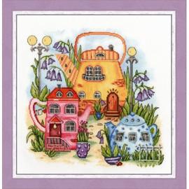 Tea Town Cross Stitch Kit By Golden Fleece