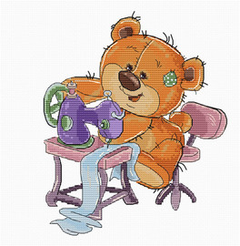 Sewing Machine Teddy Bear Counted Cross Stitch Kit by Luca S