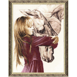 Girl With A Horse Cross Stitch Kit By Golden Fleece