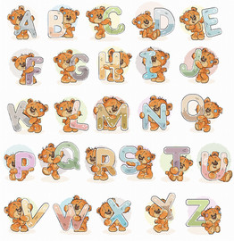 Teddy Bear Alphabet Counted Cross Stitch Kit by Luca S