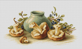 Still Life with Mushrooms Counted Cross Stitch Kit by Luca S