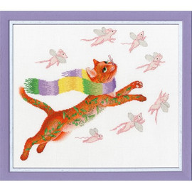 Hunting For Pink Mice Cross Stitch Kit By Golden Fleece