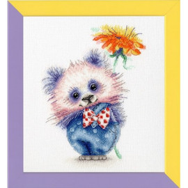Panda With Flower Cross Stitch Kit By Golden Fleece