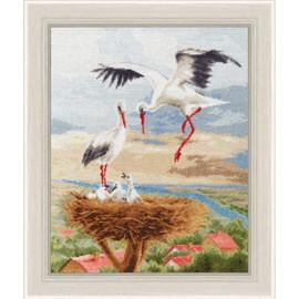 Storks On The Roof Cross Stitch Kit By Golden Fleece