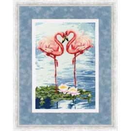 Flamingo Date Cross Stitch Kit By Golden Fleece