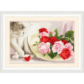 Cat and Roses Cross Stitch Kit By Golden Fleece