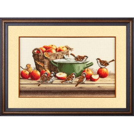 Sparrows And Apples Cross Stitch Kit By Golden Fleece
