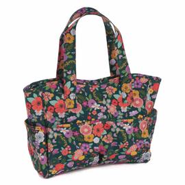 Floral Garden Teal Matt PVC Craft Bag  By Hobby Gift