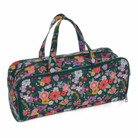 Floral Garden Teal Knitting Bag with Pin Case By Hobby Gift