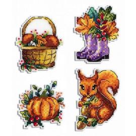 Autumn Magnets Cross Stitch Kit By MP Studia