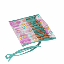 Crochet Hook Roll Filled  with Bamboo hooks Floral Dream