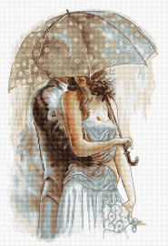 Couple Under Umbrella II Counted Cross Stitch Kit By Luca S