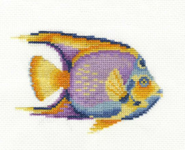 Tropical Fish  Ocean Blue Cross Stitch Kit With Embroidery Hoop By DMC