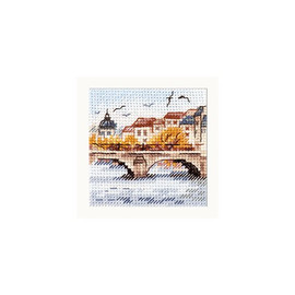 Autumn In The City: Seagulls Over The Bridge Cross Stitch Kit By Alisa