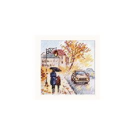 Autumn In The City: Wet Boulevard Cross Stitch Kit By Alisa
