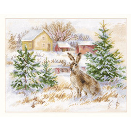 Winters Day: Brown Hare Cross Stitch Kit By Alisa