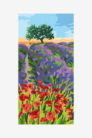Lavender and poppies Pre Printed Tapestry Canvas by DMC