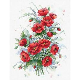 Fiery Flowers Cross Stitch Kit By MP Studia