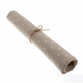 Printed Linen Roll: Heart Print: 2m x 40cm: White