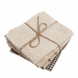 Assorted Fat Quarters: Brown/Natural: 4 Pieces