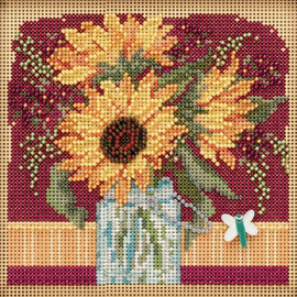 Sunflower Bouquet Cross Stitch and Beading Kit by Mill Hill