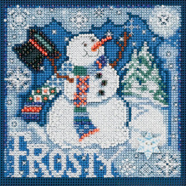 Frosty Snowman Cross Stitch and Beading Kit by Mill hill