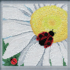 Ladybug on Daisy Cross Stitch and Beading kit by Mill Hill