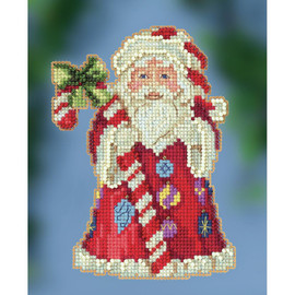Candy Cane Santa Cross Stitch and Beading kit by Mill hill