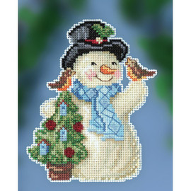 Feathered Friends Snowman Cross Stitch and Beading Kit by Mill Hill