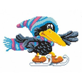 Crow On Skates Printed Cross Stitch Kit By MP Studia