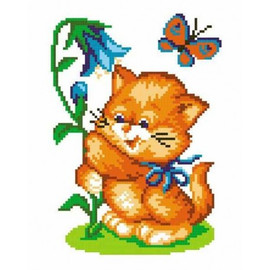Cat With Bluebell Printed Cross Stitch Kit By MP Studia