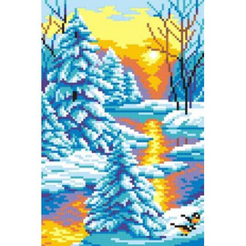 Winter Sunset Printed Cross Stitch Kit By MP Studia