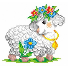 Sheep With A Wreath Printed Cross Stitch Kit By MP Studia