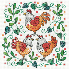 Three French Hens Cross Stitch Kit by Heritage