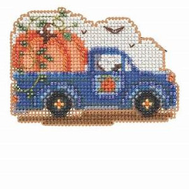Pumpkin Delivery Cross Stitch and Glass Beading Kit by Mill Hill