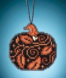 Glowing Pumpkin Cross Stitch and Glass Beading Kit by Mill Hill