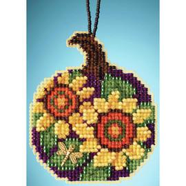 Sunflower Pumpkin Cross Stitch and Glass Beading Kit by Mill Hill