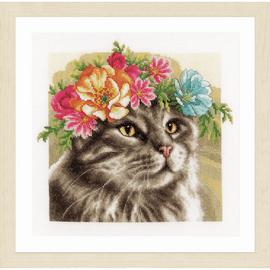 Flower Crown: Maine Coon (Evenweave) Cross Stitch Kit by Lanarte