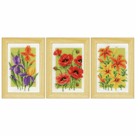 Miniature: Summer Flowers: Set of 3 Cross Stitch Kit by Vervaco