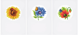 Greetings Card: Summer Flowers: Set of 3 Cross Stitch Kits By Vervaco