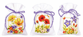 Pot-Pourri Bag : Summer Flowers: Set of 3 Cross Stitch Kits By Vervaco