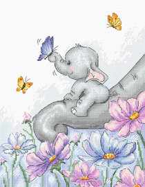 Elephant with Butterfly Counted Cross Stitch Kit By Luca S