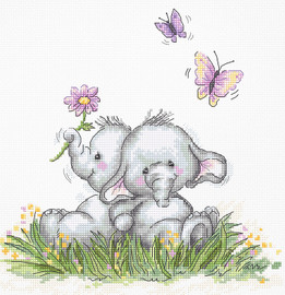 Elephant Couple Counted Cross Stitch Kit By Luca S