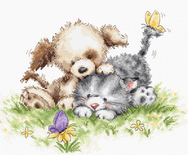 Dog, Cat and Butterfly Counted Cross Stitch Kit By Luca S