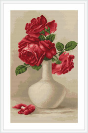 Red Roses Petit Point Cross Stitch  Kit By Luca S
